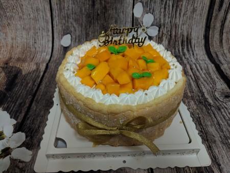 ★奶素芒果皇冠夾層蛋糕★